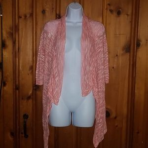 Say What? Open front pink cardigan
